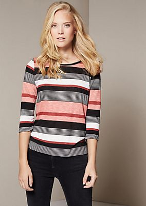 Casual top with 3/4-length sleeves and a beautiful striped pattern from s.Oliver