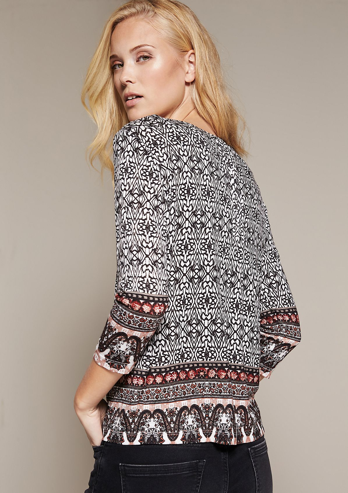 Casual 3/4-length sleeve top with a beautiful mix of patterns from s.Oliver