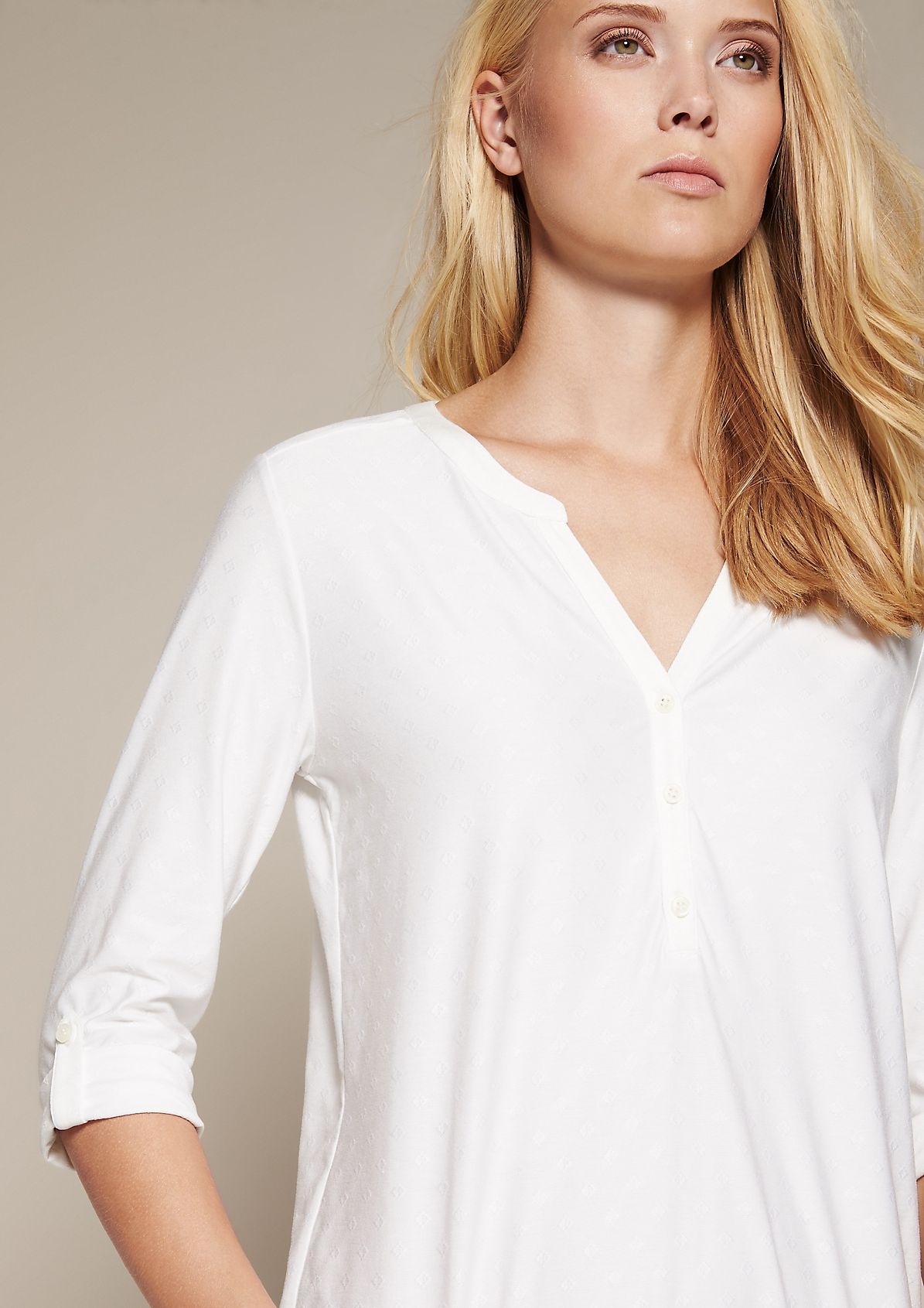 Casual jersey top with a beautiful tone-in-tone pattern and 3/4-length sleeves from s.Oliver