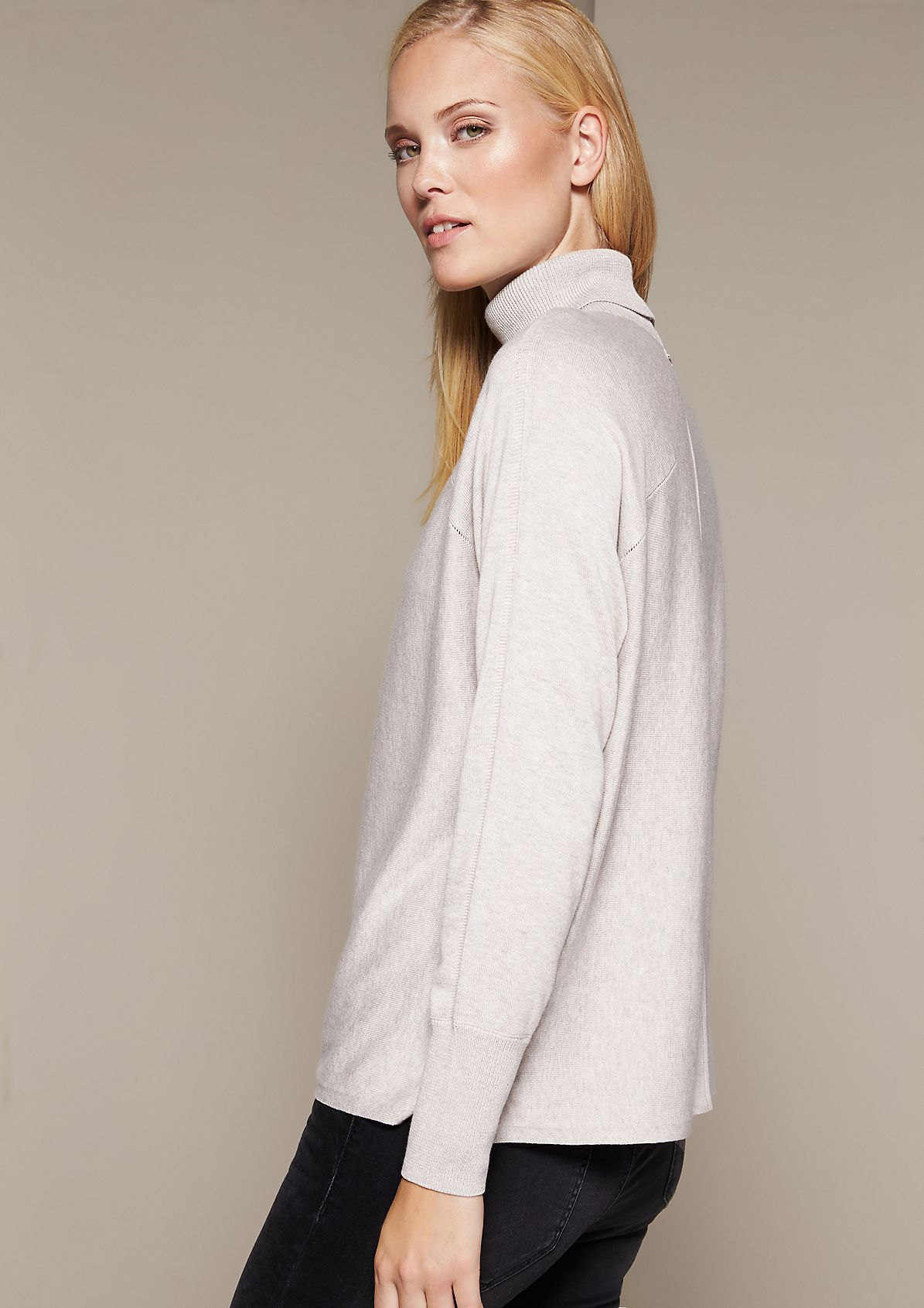 Soft knit jumper with a polo neck from s.Oliver