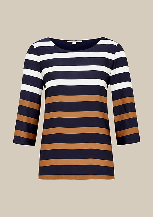 Casual satin top with 3/4-length sleeves and a classic striped pattern from s.Oliver