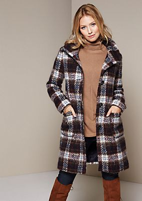 Warm winter coat with a decorative check pattern from s.Oliver
