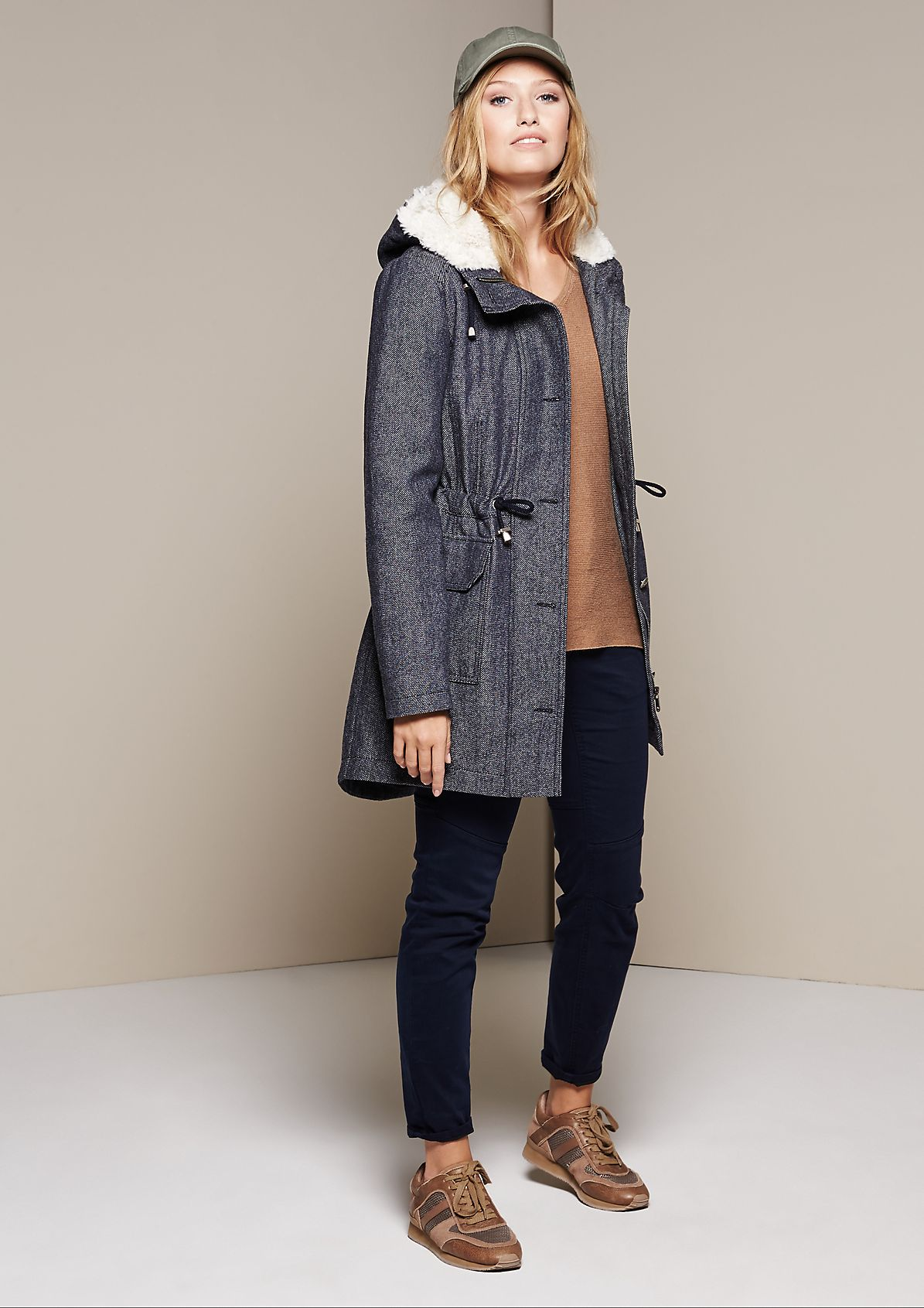 Sporty wool coat with a hood from s.Oliver