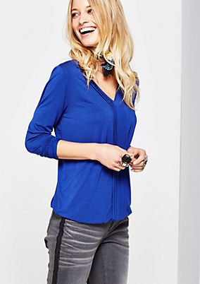 Casual jersey long sleeve top with decorative pleats from s.Oliver