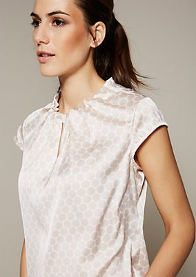 Elegant satin blouse with a sophisticated all-over print from s.Oliver