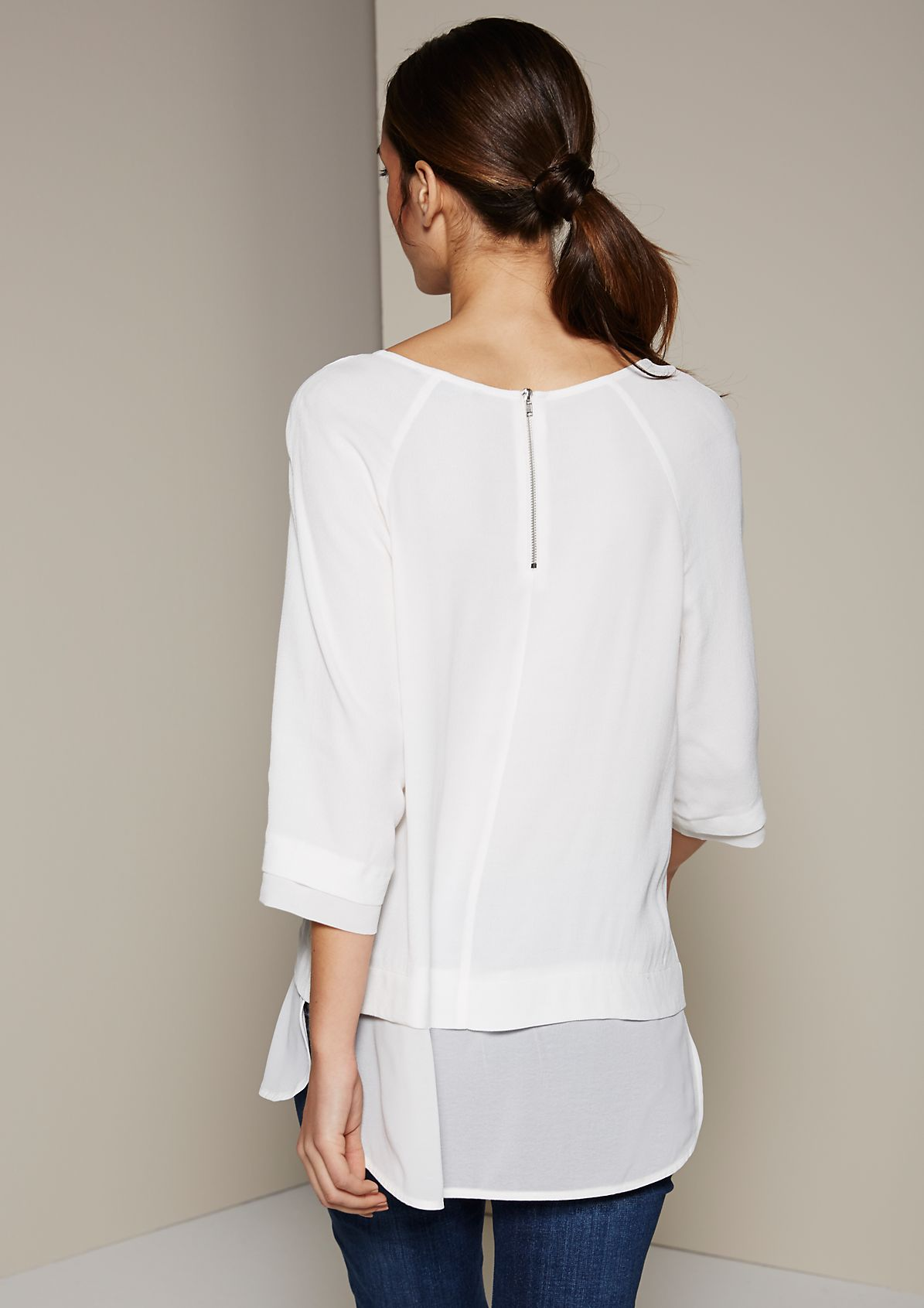 Casual blouse in an elegant fabric blend with 3/4-length sleeves from s.Oliver