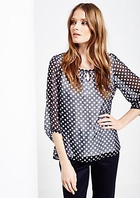 Delicate blouse with a decorative pattern and 3/4-length sleeves from s.Oliver