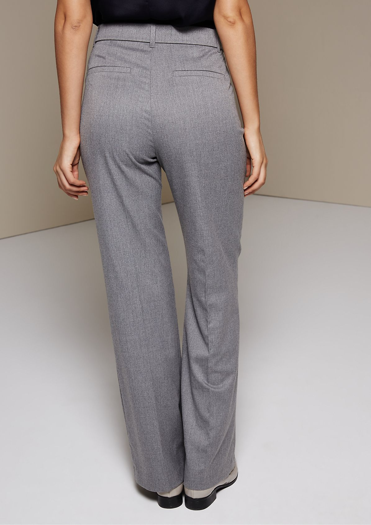 Elegant business trousers with a wide fabric belt from s.Oliver