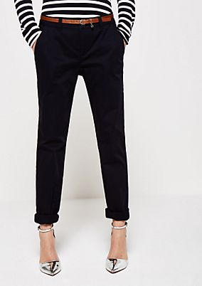 Elegant satin trousers with a belt from s.Oliver