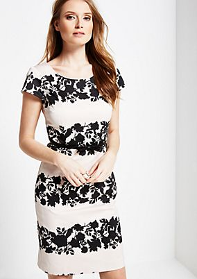 Beautiful evening dress with a floral print in a two-tone design from s.Oliver