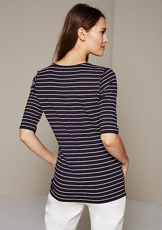 Sporty top with 1/2-length sleeves and a classic striped pattern from s.Oliver