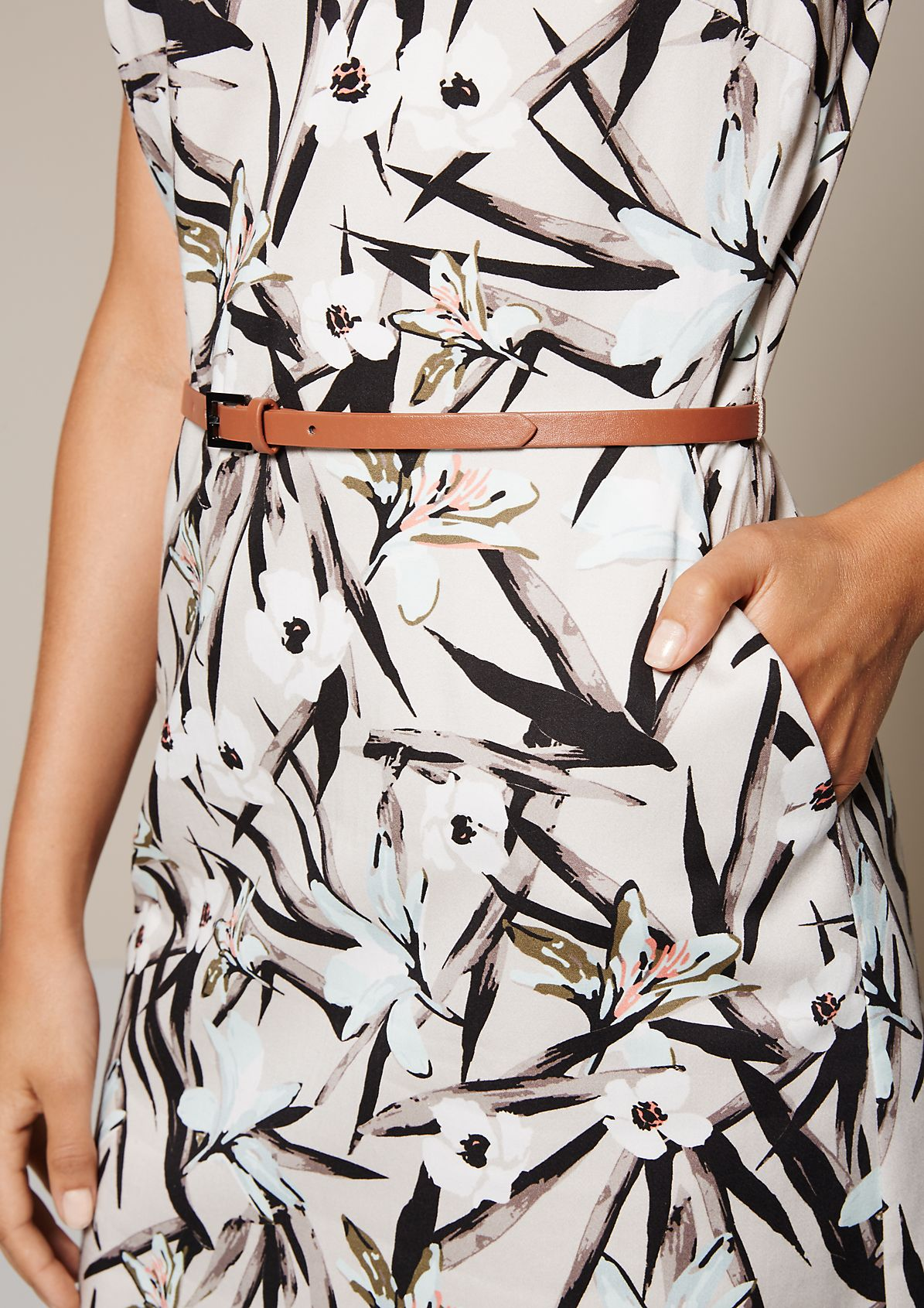 Elegant business dress with a colourful all-over print from s.Oliver