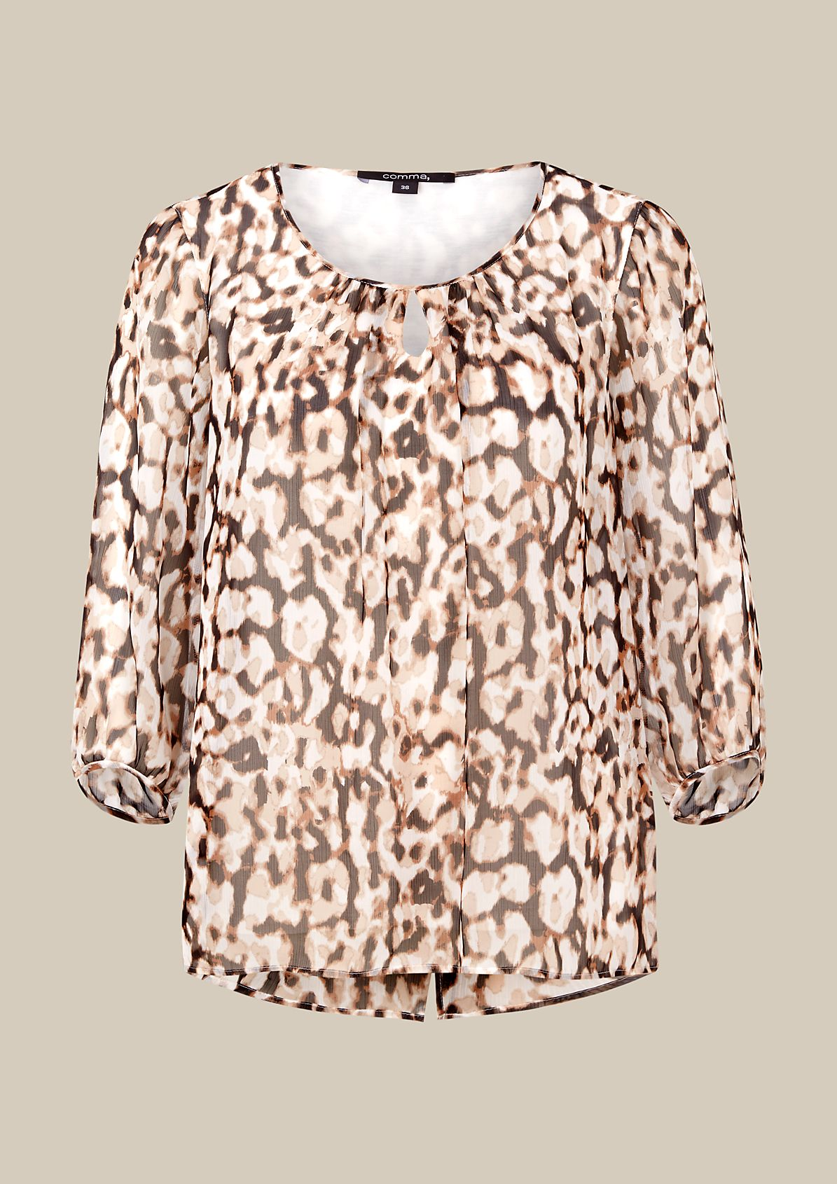 Soft chiffon blouse with a pretty all-over print and 3/4-length sleeves from s.Oliver