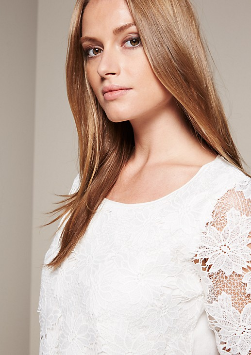 Extravagant short-sleeved knitted jumper with a fine lace trim from s.Oliver