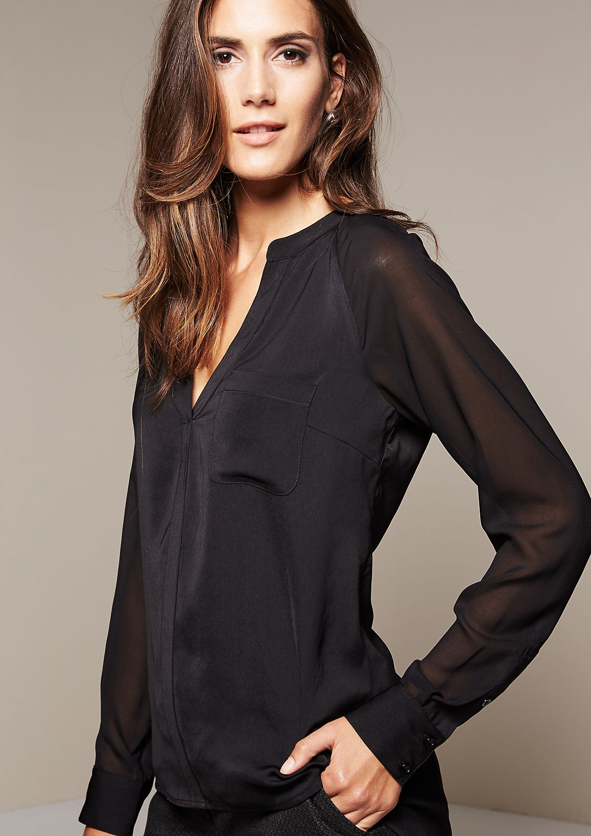 Delicate satin blouse with beautiful details from s.Oliver