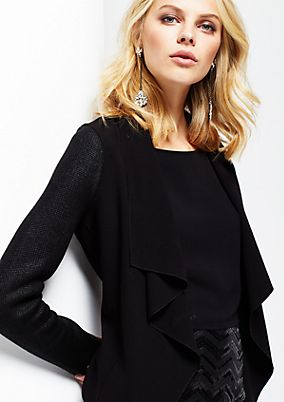 Elegant short blazer in a decorative mix of materials from s.Oliver