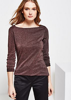 Glamorous long sleeve top in sparkling yarns from s.Oliver
