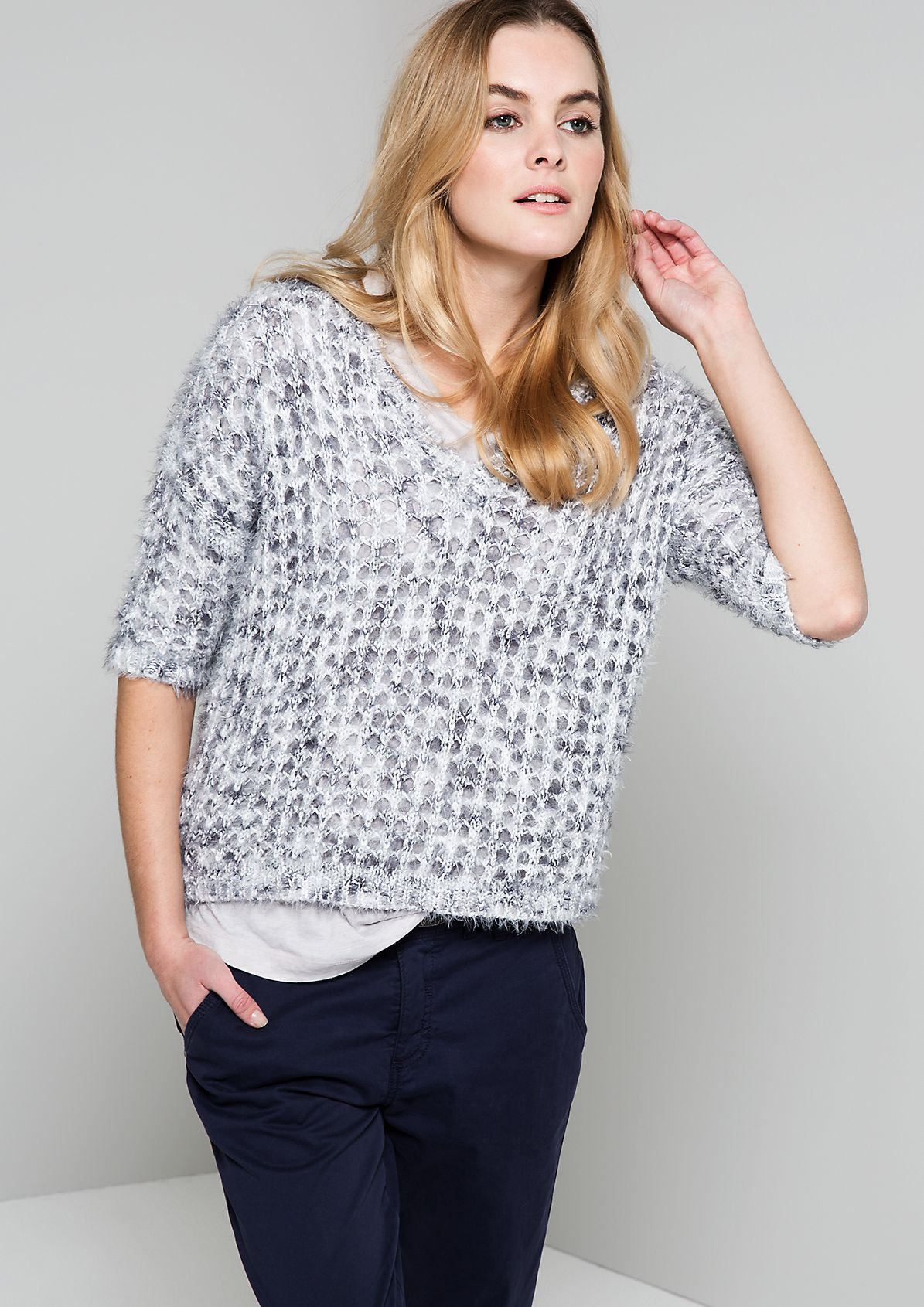 Airy knit jumper with 3/4-length sleeves from s.Oliver