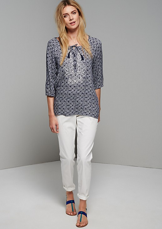 Extravagant crêpe blouse with a minimalist 60s print from s.Oliver