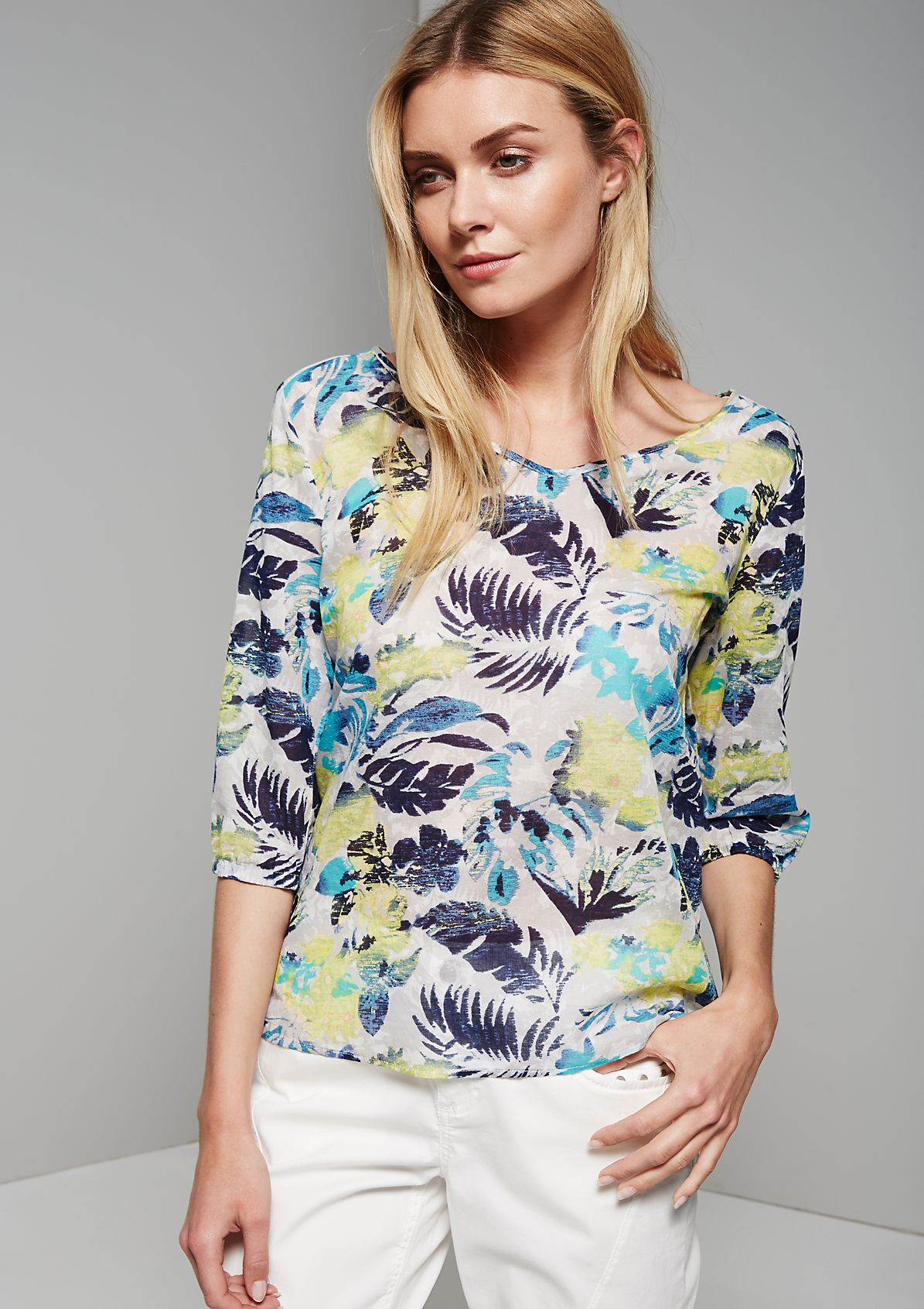 Semi-sheer summer blouse with 3/4-length sleeves from s.Oliver