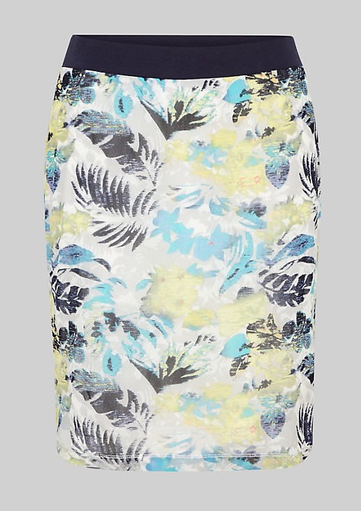 Short mesh skirt with a floral pattern from s.Oliver