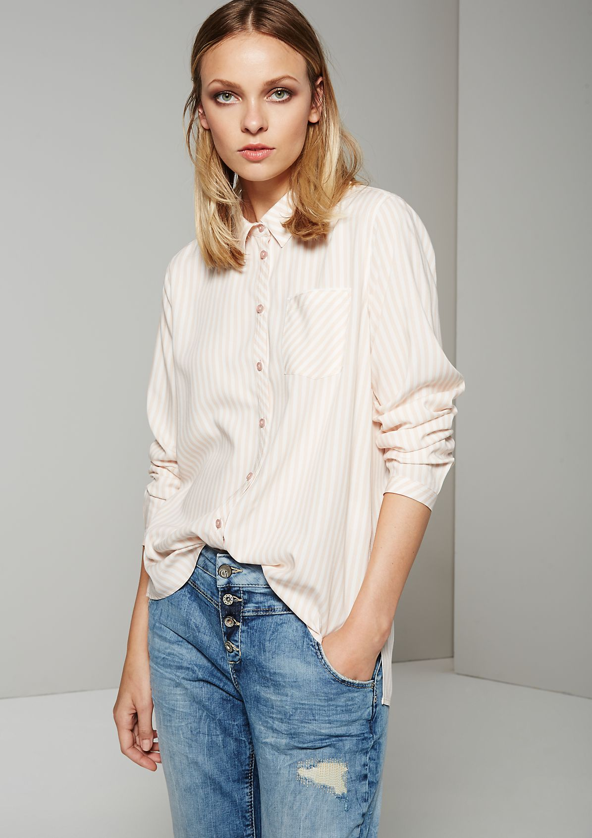 Casual shirt blouse with trendy vertical stripes from s.Oliver