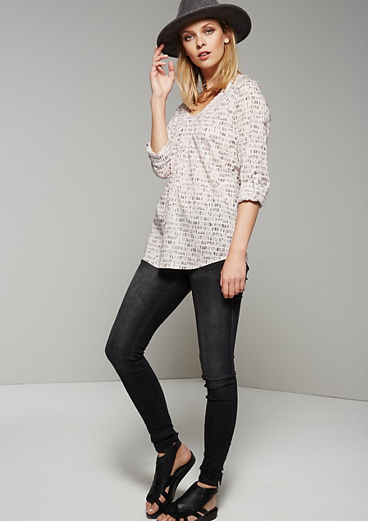 Lightweight long sleeve blouse with a decorative all-over print from s.Oliver