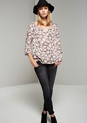 Casual blouse with 3/4-length sleeves and an abstract all-over print from s.Oliver