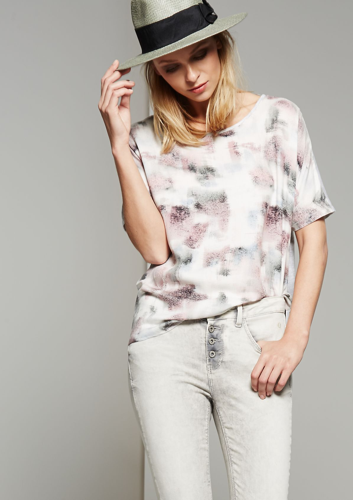 Summery crêpe top with an exciting print from s.Oliver