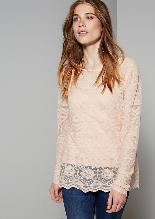 Elegant long sleeve top made from delicate lace from s.Oliver