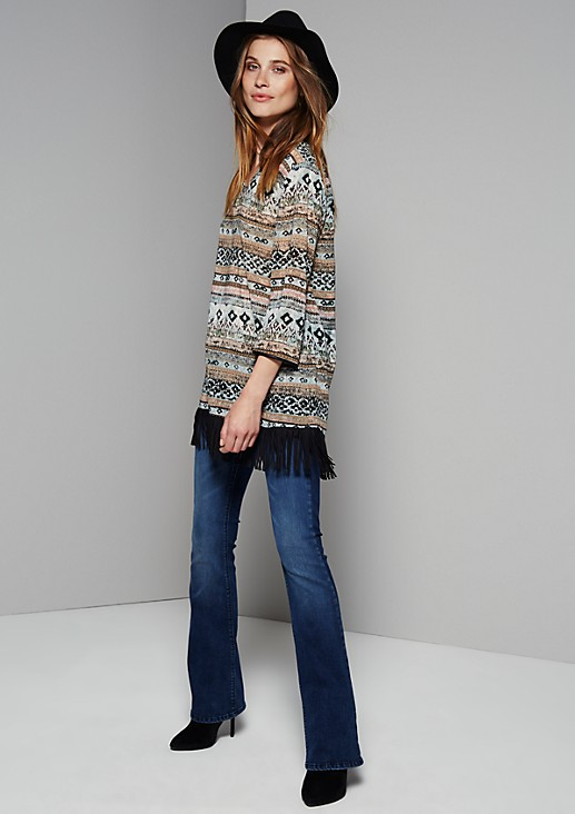 Delicate chiffon blouse with 3/4-length sleeves and a fringed trim from s.Oliver