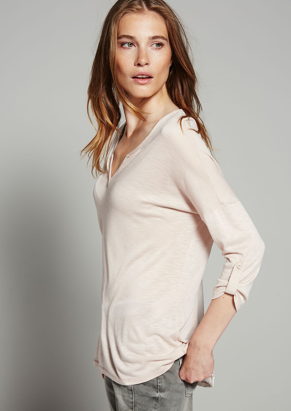 Top with 3/4-length sleeves and imitation leather elements from s.Oliver