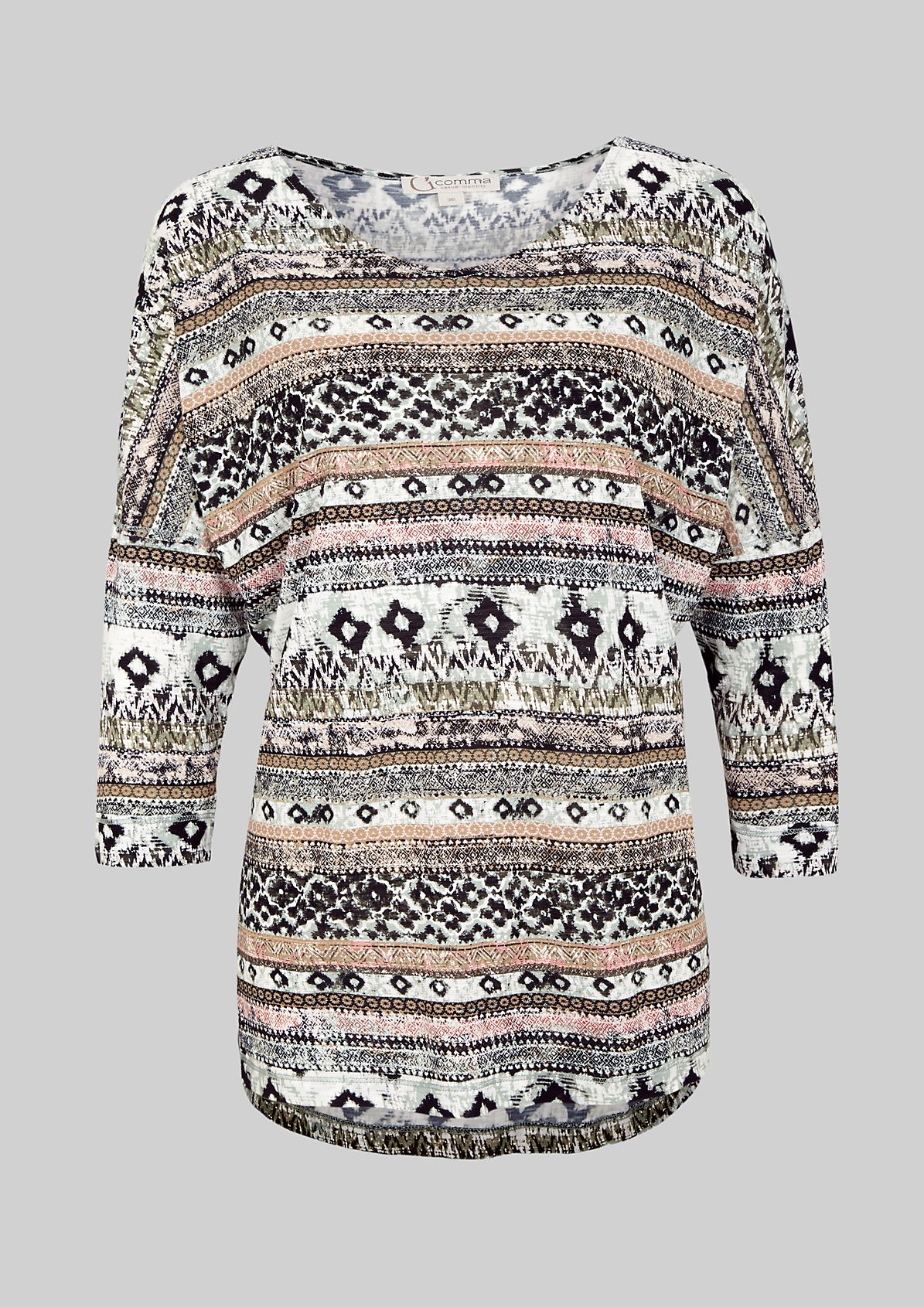 Lightweight top with 3/4-length sleeves and an elaborate pattern from s.Oliver