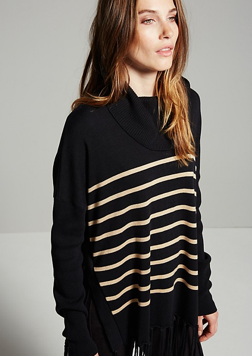 Extravagant polo neck jumper with a fringed trim from s.Oliver