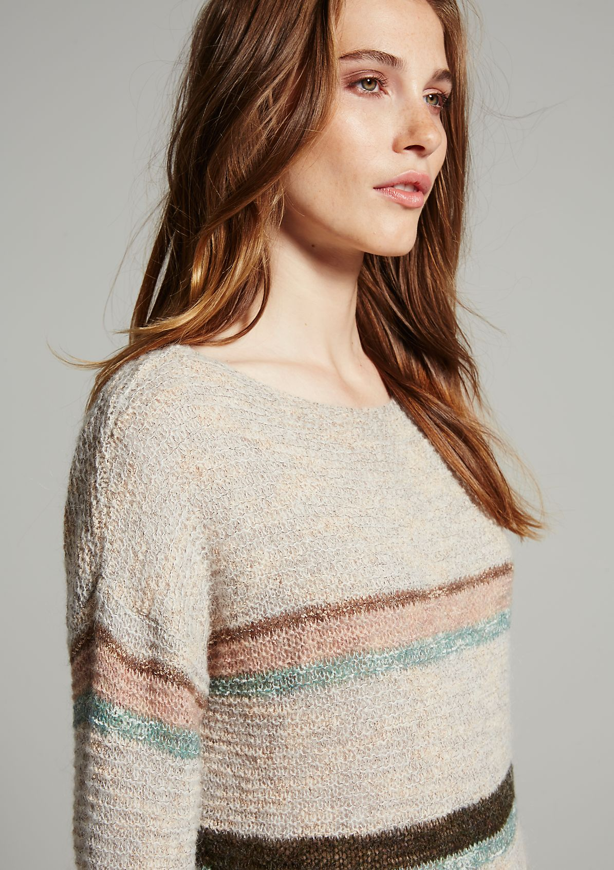 Semi-sheer knitted jumper in a trendy striped look from s.Oliver