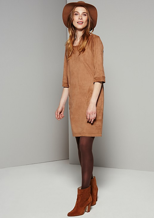 Luxurious Alcantara dress with 3/4-length sleeves from s.Oliver