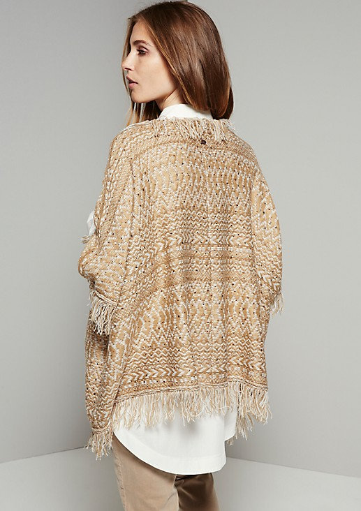 Pretty knitted poncho with a Scandinavian pattern from s.Oliver