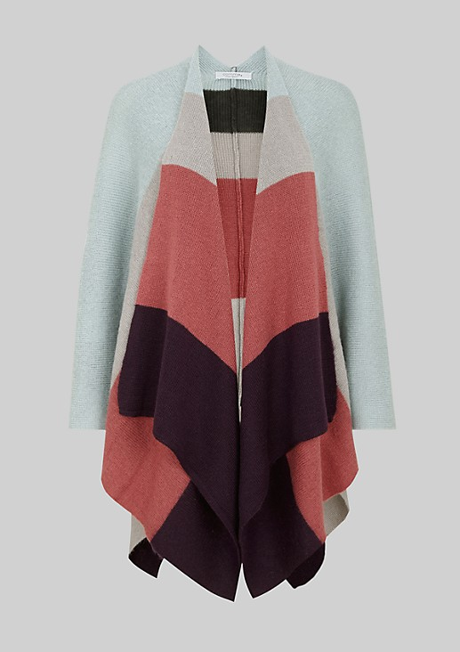Warm winter poncho in a colour block design from s.Oliver