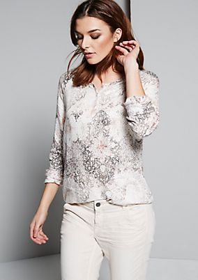 Casual long sleeve blouse with a decorative, all-over ornamental print from s.Oliver