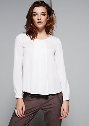 Elegant long sleeve blouse with decorative pintucks from s.Oliver