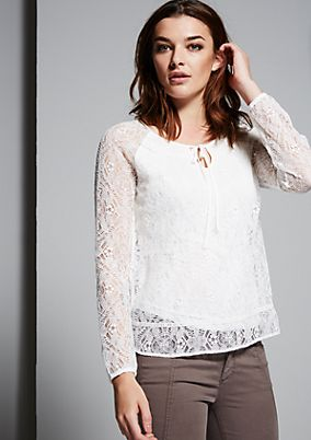Delicate long sleeve blouse in high-quality lace from s.Oliver