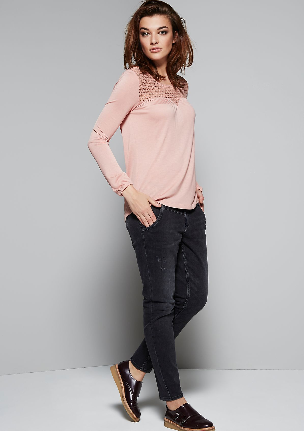 Classic long sleeve top with a decorative lace panel from s.Oliver