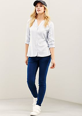 Fine twill blouse with a sophisticated striped pattern from s.Oliver