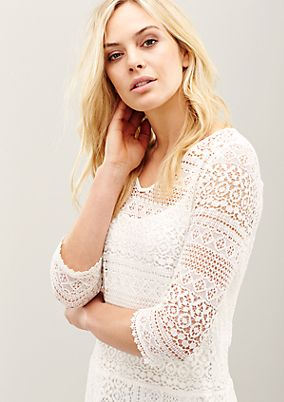 Glamorous lace blouse with 3/4-length sleeves from s.Oliver