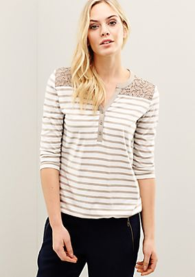 Sporty striped top with a sophisticated lace trim from s.Oliver