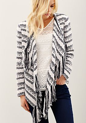Cosy jacket with a whimsical fringe trim from s.Oliver