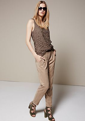 Elegant trousers in soft velour from s.Oliver