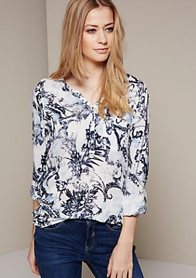 Sporty long sleeve blouse with an all-over vintage print from s.Oliver