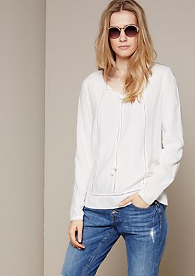 Feminine long sleeve blouse with decorative tassels from s.Oliver
