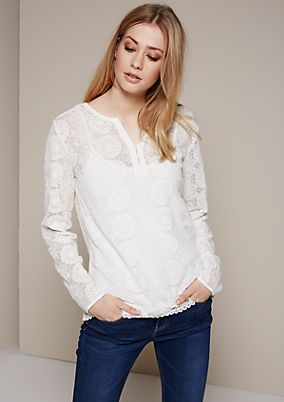 Glamorous long sleeve blouse in delicate lace from s.Oliver